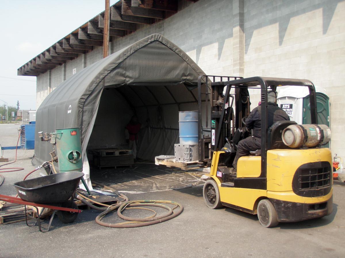 The sand blast tent ... & ARR Locomotive #557 - Engine 557 Restoration Company Progress ...
